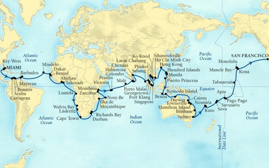 Seabourn's 2020 world cruise: 62 ports in 146 days