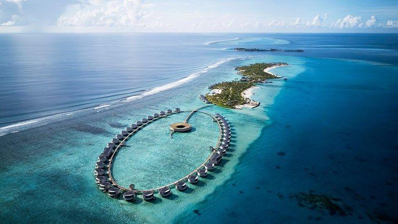 The interior of a one-bedroom Ocean Pool Villa at the Ritz-Carlton Maldives Fari Island.